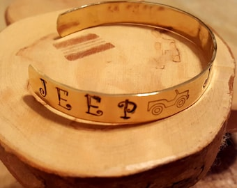Brass Jeep Family hand stamped and polished cuff bracelet OIIIIIIIO