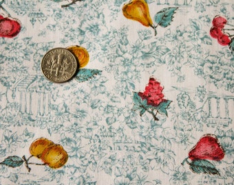50s Novelty Print Fabric - Over 3.5 Yards x 36 Inches Wide - 1950s Fruits & Antique Ruins Cotton Poplin - Antique Fruit by J.Manes - 47772