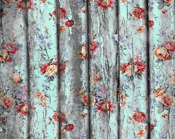 Vintage Shabby Flowers Rustic Wood Digital Photography Backdrop