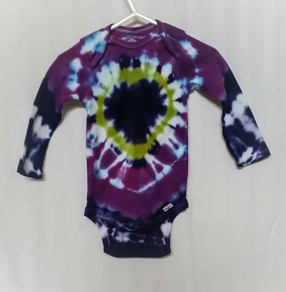 Tie Dye Baby Clothes/Baby Bodysuit/Deep Purple, Raspberry & Lime Green/Eco-Friendly Dyeing