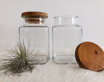 Pair of Wood and Glass Jars Canisters / Tall Vintage Glass Canister with Wood Lid / Housewarming Gift / Kitchen Storage / Rustic Farmhouse