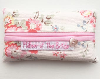 "Cath Kidston ""Bleached Flowers"" Mother of the Bride Wedding Tissue Holder -Pocket Sized Travel"