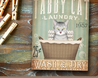 grey gray tabby Cat Laundry Company basket illustration graphic art on canvas by stephen fowler