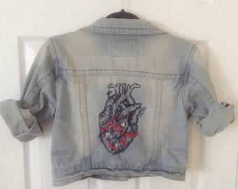 Light Denim Jacket With Embroidered Heart