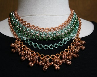 Multi-Chain Chainmaille Copper Necklace