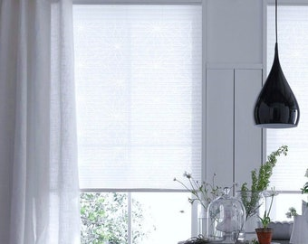 Simple curtains * Lined linen piece 2.80 meters high for clips & brackets * Made of GWENDOLYN * White semi-linen vonJAB