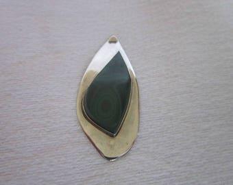 Native American Sterling Silver & Malachite Stylized Large Necklace Pendant