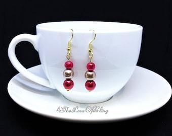 Mothers Day Gift, Elegant Cherry Apple Red & Swarovski Bronze Pearl Drop Earrings, Bridesmaid Gifts, Bridal Jewellery, Pearl Dangle Earrings