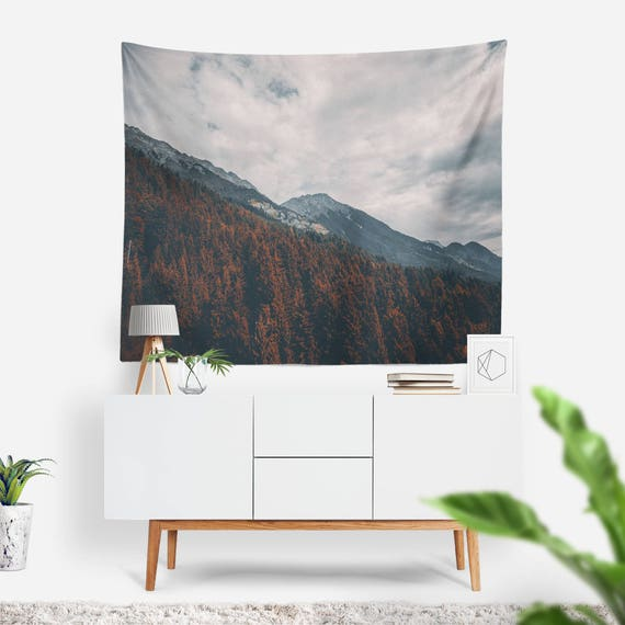 Innsbruck Tapestry | Nature Tapestry | Mountains Wall Decor | Clouds | Boho Tapestries | Landscape | Photo Tapestry | Forest Wall Art