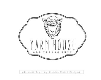 Knitting Logo-Crochet Logo-Sheep Logo-Farm Animal Logo-Premade Logo-Logo Design-Branding