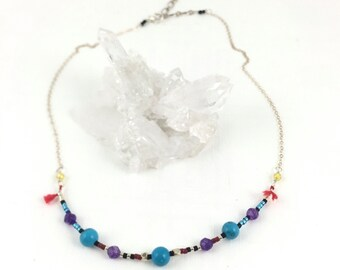 December Birthstone, Turquoise Gemstone, Multi Gem Necklace Silver, Colorful Gemstones, Precious Gem Nekclace, Tassle Necklace