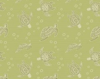 Turtles on Light Lime, Island Girl, Lewis & Irene, tropical, summer, fabric by the yard, sea turtle, quilting cotton, island princess