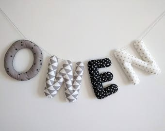 Big Size Fabric Name garland/Letters Banner/Baby room decoration/Wall Art Nursery/ Dream Big