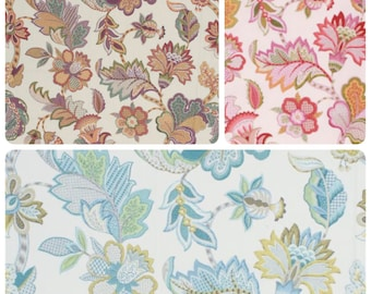 """USA Made 54"""" Wide Cotton Botanical Jacobean Ivory Drapery Fabric Floral Pattern Aqua Green Teal Gray Red Pink Eggplant Purple IL11"""