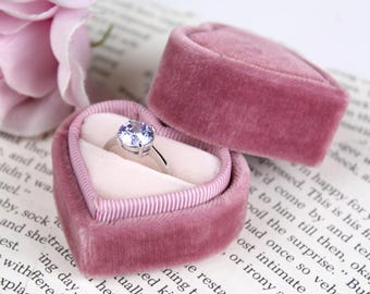Heart Shaped Velvet Ring Box in Old Rose for Weddings, Proposals and Ring Storage