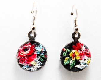 Red and Yellow Floral Clay Earrings