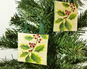 Holly Berries Ornament, 2x2 Inch Winter Miniature Art Red & Green Christmas Decor Set of 2