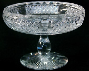 Vintage Hawkes Crystal Footed Compote