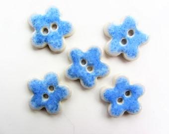 5 handmade ceramic flower buttons, beautiful blue glaze