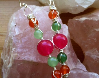 Quartzite, Jade and Agate Earrings