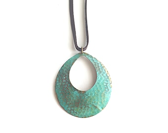 Textured Oval on Leather Necklace