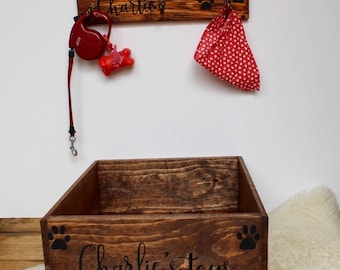 Pet Toy Box And Leash Holder, Dog Toy Box, Cat Toy Box, Personalized Dog  Toy Box, Doggy Toy Storage, Pet Toy Bin, Custom Pet Toy Box