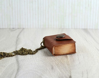 Small leather notebook Mini journal Miniature book necklace Book pendant Leather mini book Antique paper notebook Tiny book