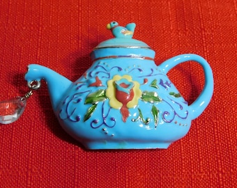 JS Signed Vintage Enamel Teapot w/Charm Bird Blue Raised Pattern