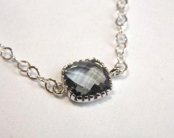 Gray Necklace, Glass Necklace, Silver Necklace, Charcoal, Grey, Bridesmaid Necklace, Bridal Jewelry, Bridesmaid Gift