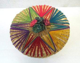 Lidded Basket Decorative Natural Fiber Flower