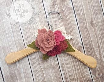 Felt Flower Wood Baby/Toddler Hanger - Pink Rose    Clothing Display, Nursery Decor, Baby Gift