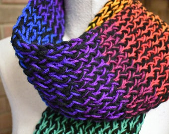 "Multi-color 'Rainbow' Hand Knit Serenity Scarf -60"" Long"