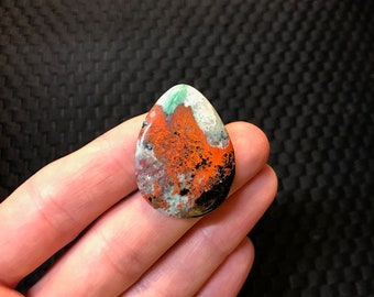 Sonora Sunrise Sunset Chrysocolla Cabochon, Gorgeous Colors and Patterns! 38x28x5mm.