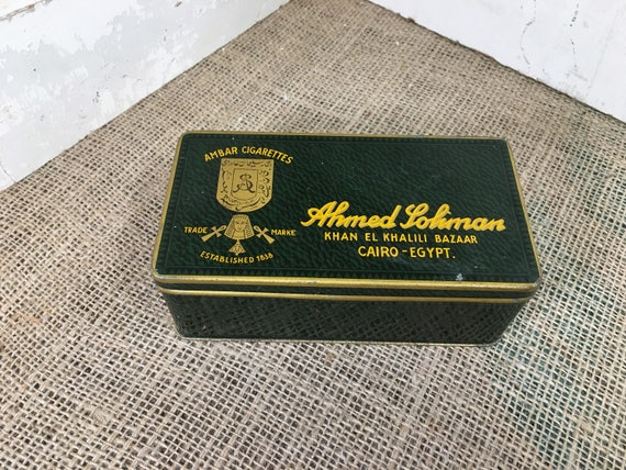 Vintage Ambar cigerettes tin from Cairo Egypt, rare vintage early century cigarette tin from Ambar cigarettes, vintage tin collectible