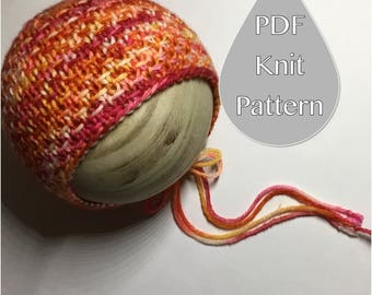 PDF Knit Pattern #0061 The Landry Knit Bonnet, Newborn, Knit PDF Pattern, Tutorial, Knit Pattern, Beginner, Advanced, Instruction,Newborn