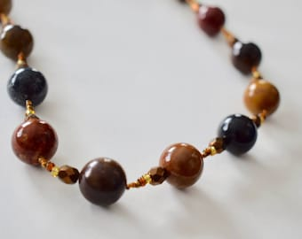 AAA IMPERIAL JASPER Necklace with Czech Glass Beads