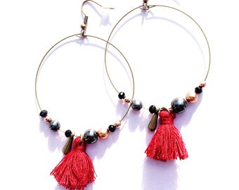 Earrings hoop earrings/Red
