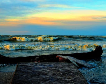 Sunset on the Waves  Landscape Fine Art Photograph - Home Decor