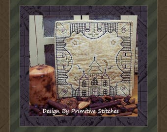 Haunted Cemetery Candle Mat by Primitive Stitches-Primitive Stitchery E-Pattern--Instant Download