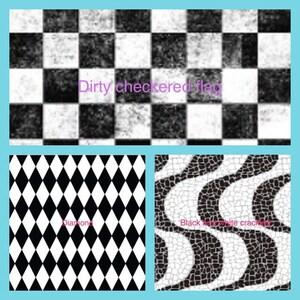 Checkered flag vinyl, dirty vinyl, diamond pattern vinyl, black and white vinyl, cracked grey vinyl, cracked dark grey vinyl