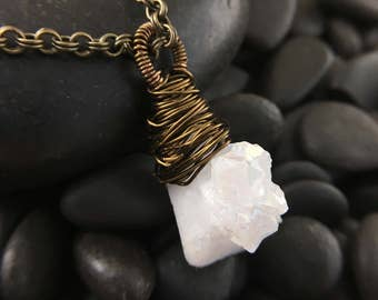 White Agate Stone Wire Wrapped Pendant