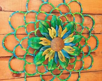 Large Metal Flower, Metal Floral Wall Art, Floral Decor, Metal Flower, Garden Art, Patio Decor, Spring Flower, Farmhouse Decor, Sunflower