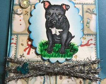 Pitbull Rescue Vertical Card - Three Dimensional - Proceeds to Charity 100%