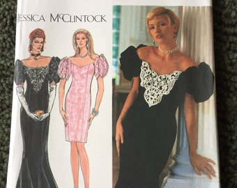 Vintage SIMPLICITY Princess Seam Off the Shoulder Puff Sleeve JESSICA McCLINTOCK Dress Pattern 8823 Size 6 8 10 Uncut