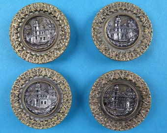 4 vintage architectural brass picture buttons
