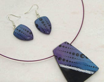 Ornament pendant and graphic black and gradient polymer clay earrings blue and purple Pearlescent printed in black