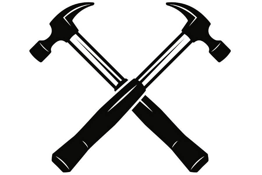 Construction Logo 2 Hammer Tool Toolbox Handyman Work Worker
