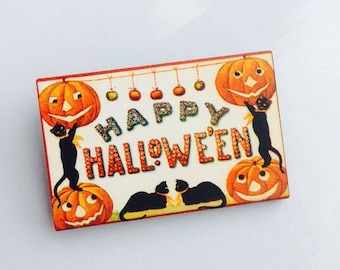 Happy Halloween Jack O Lantern and Black Cat Wooden Brooch Pin Birthday Gift Christmas Stocking Filler Laser Cut