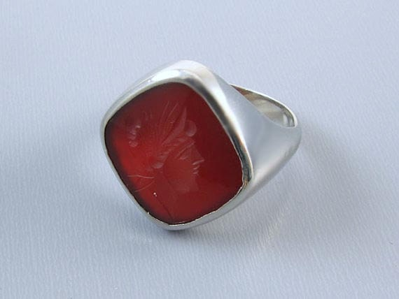 Mans vintage Art Deco 14k white gold carnelian intaglio seal ring, size 10