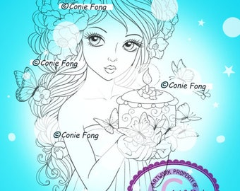 Digital Stamp, Digi Stamp, digistamp,  Butterfly Wishes by Conie Fong, flower, peony, birthday cake, Coloring Page, girl, braids
